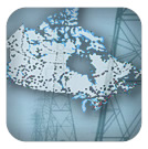 Power lines and map of generating stations across Canada